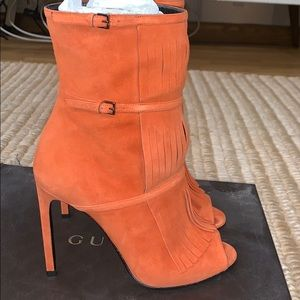 Gucci orange suede open toe Stiletto zipper bootie
